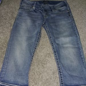 Women's silver cropped jeans a